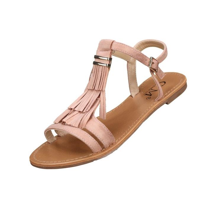 Sandales à franges rose Leader Mode