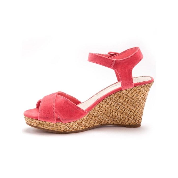 Sandales compensées, talon fantaisie rose clair uni Balsamik