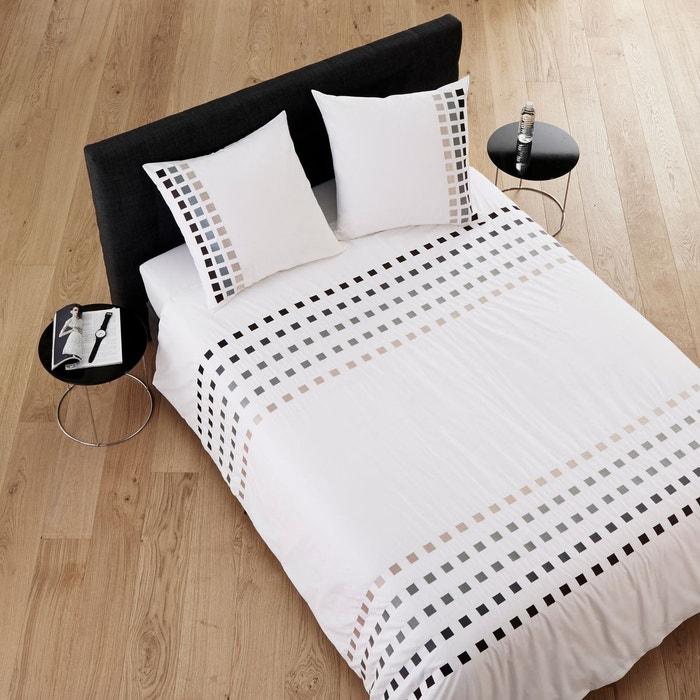 housse de couette coton square blanc et gris blanc et gris. Black Bedroom Furniture Sets. Home Design Ideas