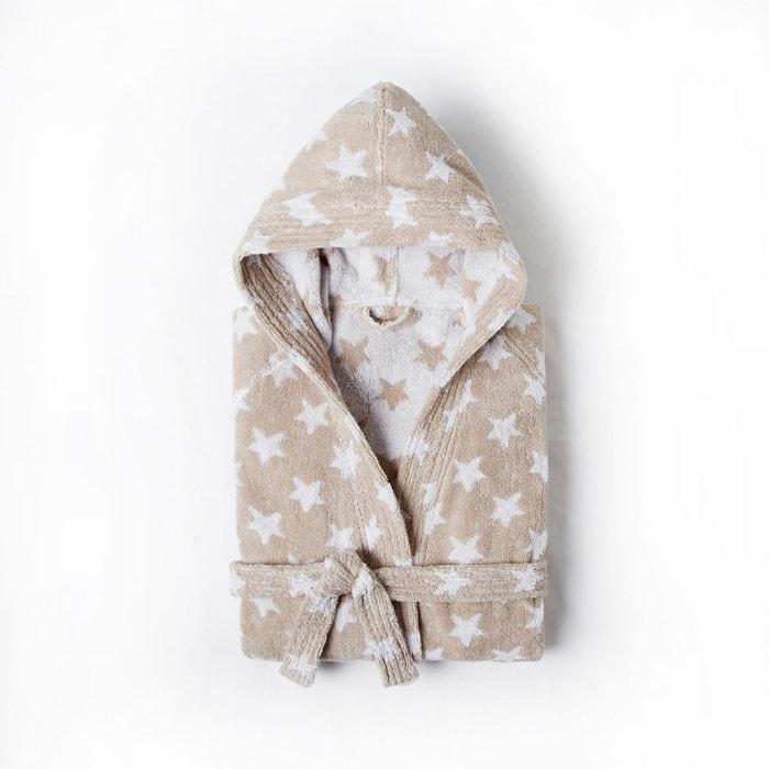 peignoir enfant capuche stars 100 coton beige ficelle. Black Bedroom Furniture Sets. Home Design Ideas
