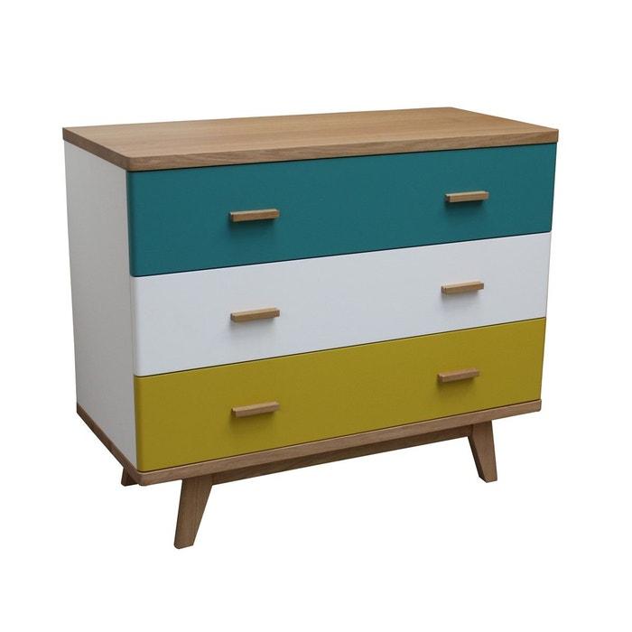 Commode 3 tiroirs chêne massif et laqué bleu turquoise Pirotais | La ...