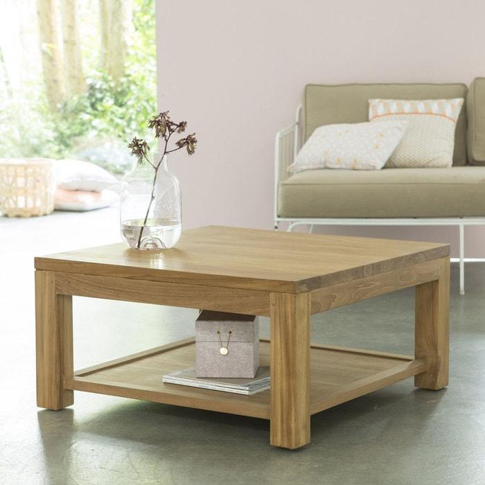 table basse en bois de teck 80x80 eve teck brut tikamoon la redoute. Black Bedroom Furniture Sets. Home Design Ideas
