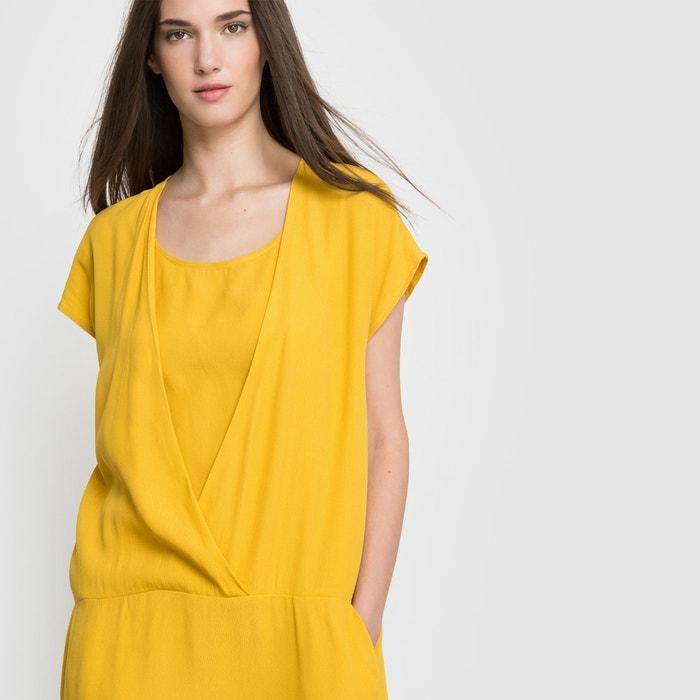 Robe fluide manches courtes Vila jaune   La Redoute 1c74b301ab26