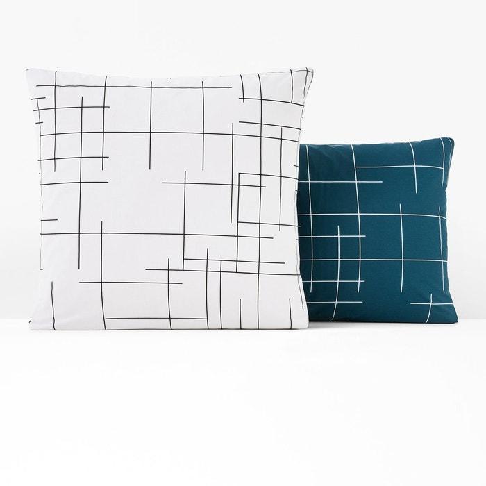 taie d oreiller r versible charline bleu prusse la redoute. Black Bedroom Furniture Sets. Home Design Ideas
