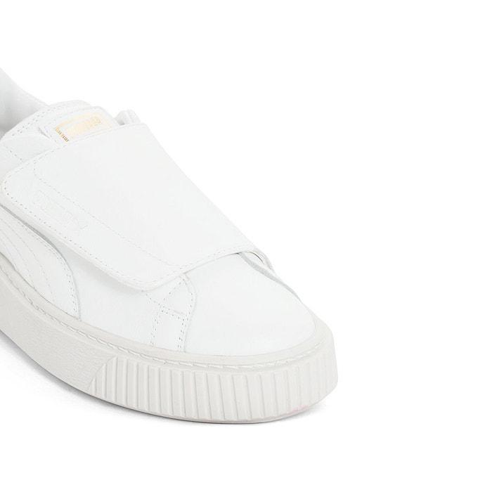 Baskets compensées platform big velcro white Puma