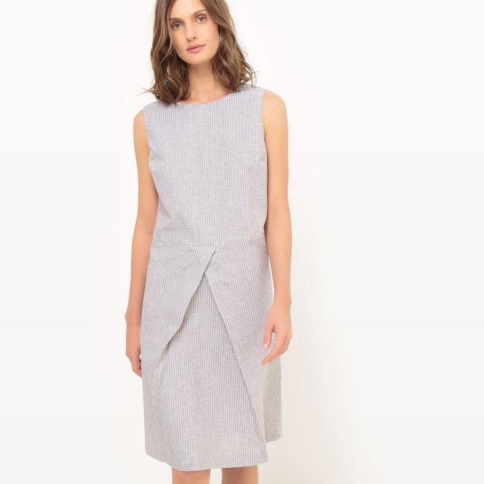 afbeelding Gestreepte jurk zonder mouwen, linnen La Redoute Collections