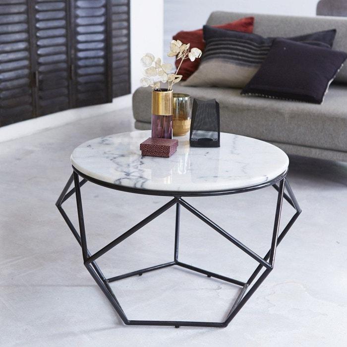 5b6000a6709 Table de salon ronde en marbre blanc et métal noir et blanc Tikamoon ...