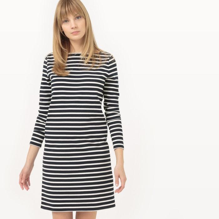 afbeelding Gestreepte rechte jurk met boothals La Redoute Collections