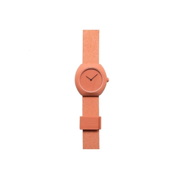 Montre en impression 3d plastique recyclable et poudre de terracotta, bracelet cuir terracotta .Step   La Redoute