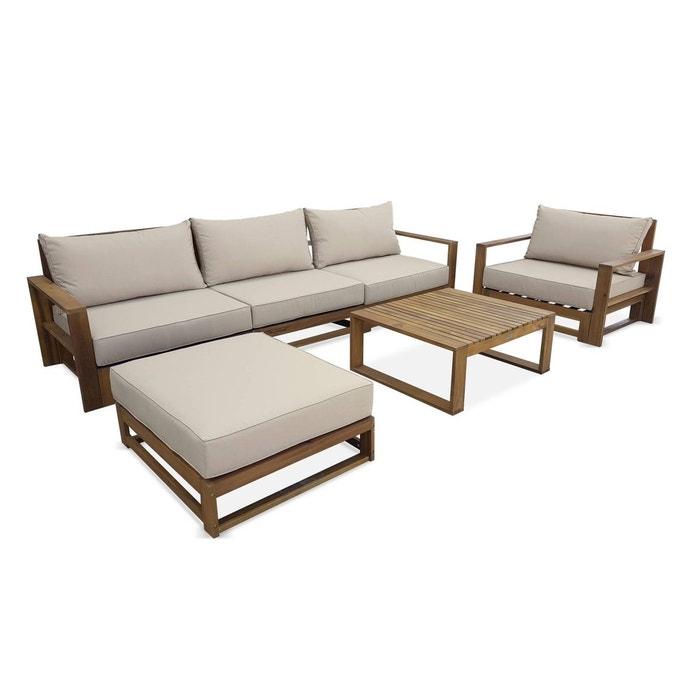 Salon de jardin en bois 5 places - mendoza - coussins beiges, canapé ...