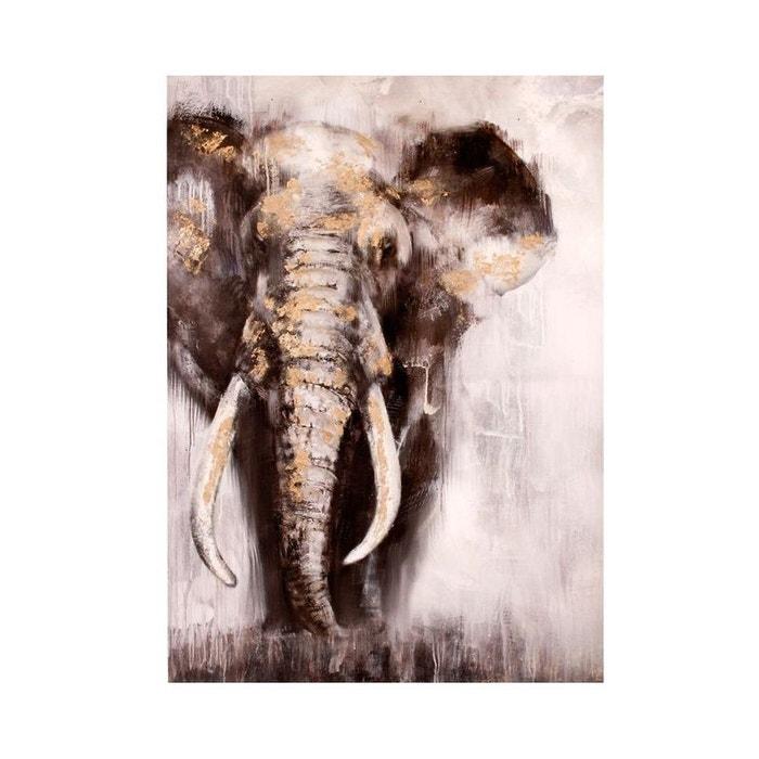 tableau elephant tons neutres et ajouts dor s 70x100cm marron pier import la redoute. Black Bedroom Furniture Sets. Home Design Ideas