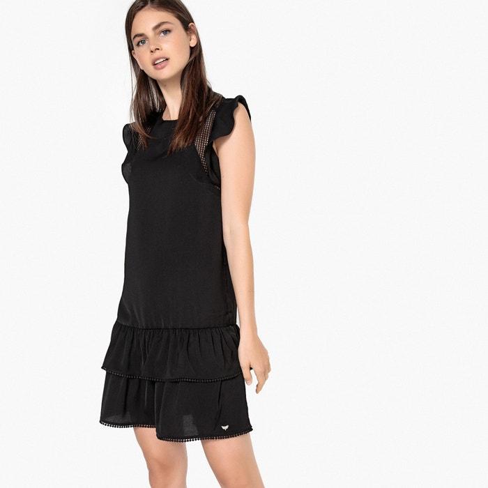 4ba6d886247bf Kurzes kleid mit rüschen, kurzärmelig schwarz Lpb Woman | La Redoute