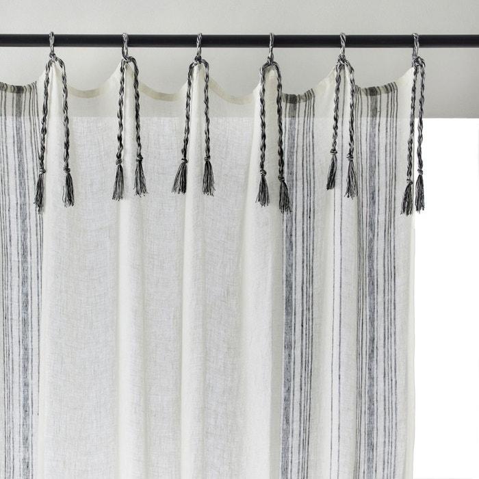voilage pur lin adamantia blanc gris am pm la redoute. Black Bedroom Furniture Sets. Home Design Ideas