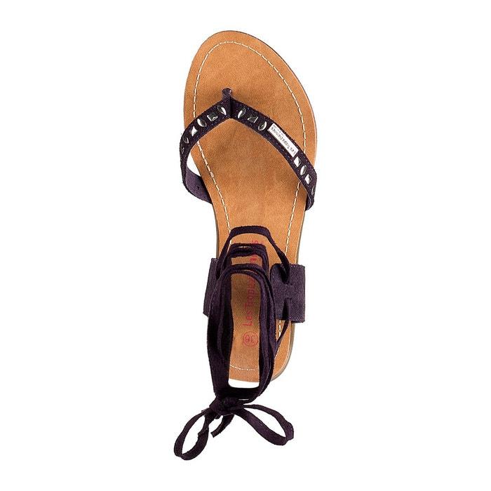 Sandales plates galtano, entre-doigt et lacet chev violet Les Tropeziennes Par M Belarbi