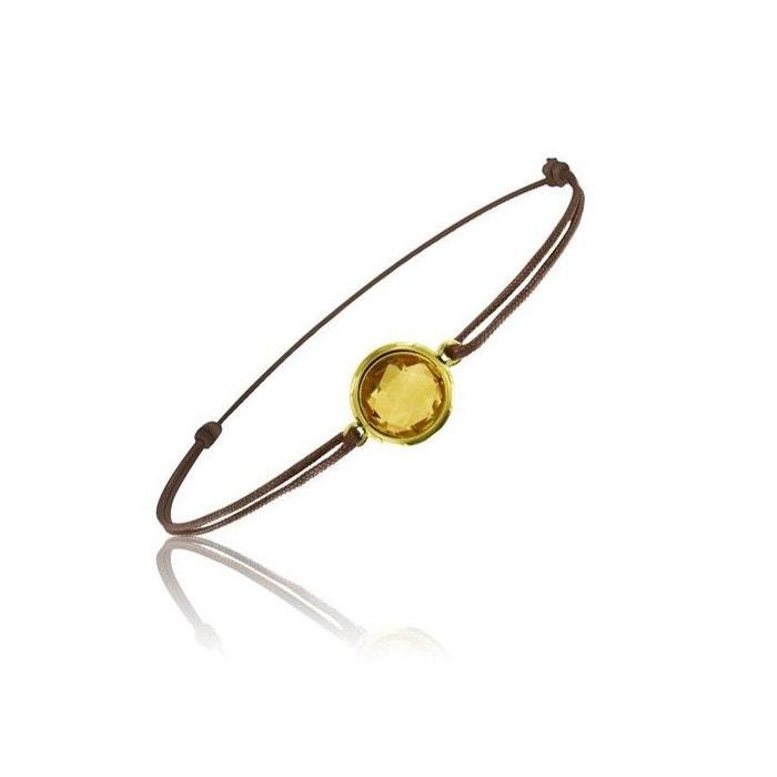 Bracelet cordon marron avec une pierre citrine ronde ! marron Be Jewels | La Redoute Sortie Footlocker Finishline OemnBxA