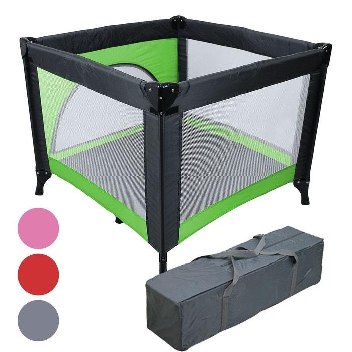 f14d97d280e1 Parc bébé pliable 90cm x 90cm avec matelas + sac transport - vert vert  Monsieur Bebe   La Redoute
