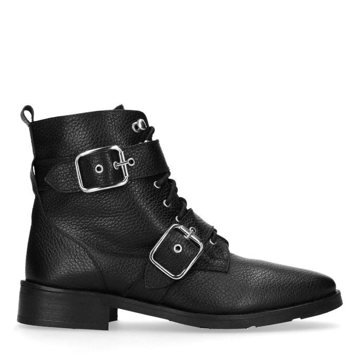 Bottines motardes en cuir avec lacets et boucles noir Sacha   La Redoute 5a5a686c90df