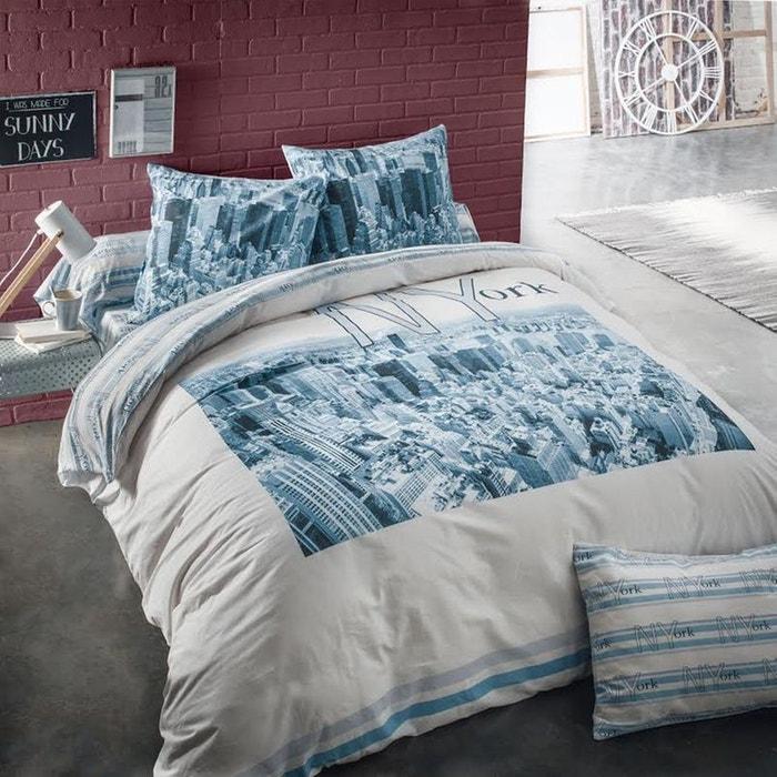 taie d 39 oreiller new york en coton azur azur cotonflor la redoute. Black Bedroom Furniture Sets. Home Design Ideas