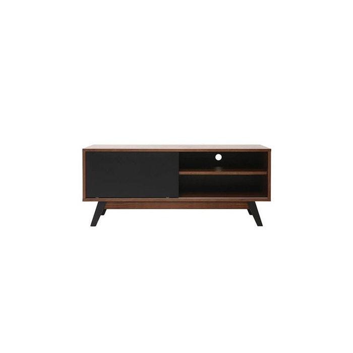meuble tv design noyer et noir mat norma noyer miliboo. Black Bedroom Furniture Sets. Home Design Ideas