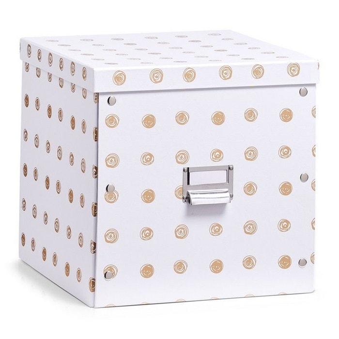 Boite Rangement Carton Cubique Decorative Doree Blanc Zeller Present