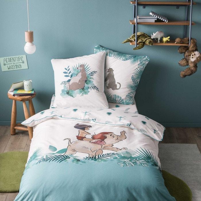parure de lit enfant imprim e jungle book promenade 100 coton blanc et vert blanc blanc. Black Bedroom Furniture Sets. Home Design Ideas