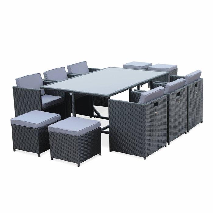 Salon de jardin vasto noir table en résine tressée 6 à 10 places ...