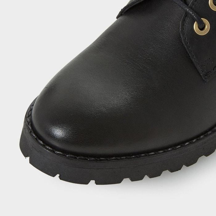 Bottines à lacets avec bordure en fausse fourrure - perrinn noir cuir Dune London