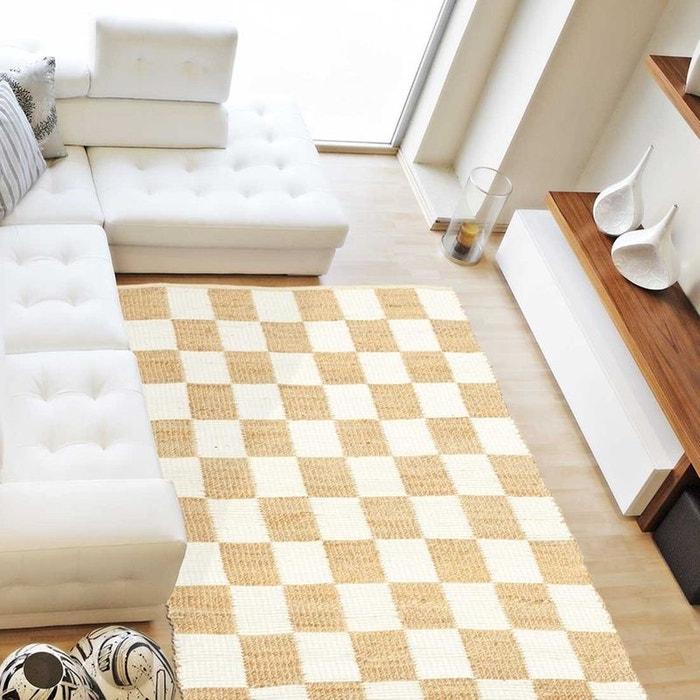 Tapis De Salon Moderne Design Carre Jute Coton Coton Blanc Un