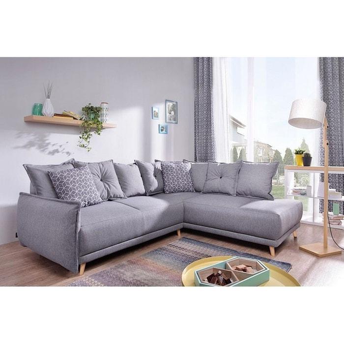 Canapé d\'angle l droit lena muna 8 gris clair/deco bleu gris ...