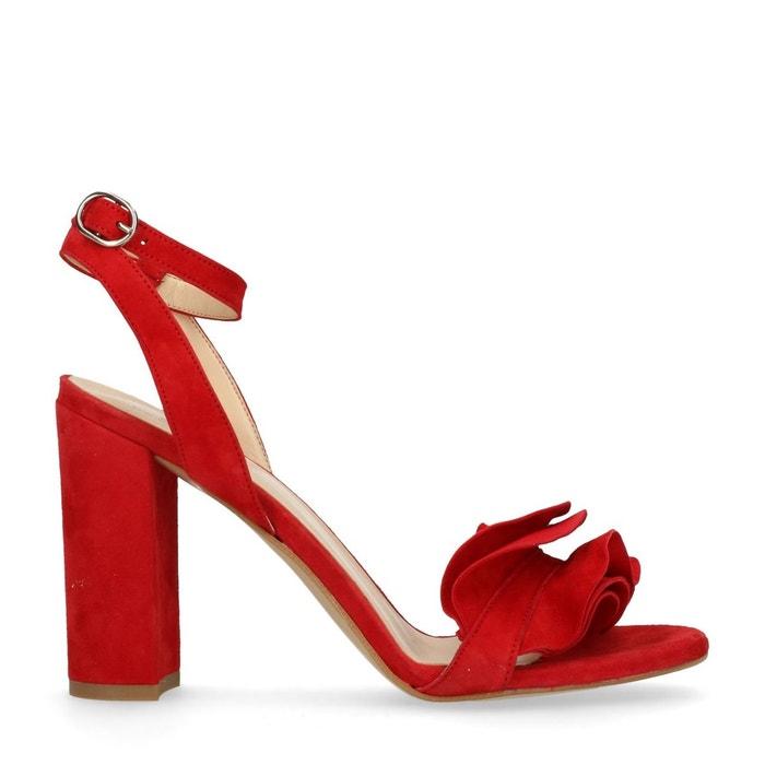 Sandales à talon avec froufrous rouge Sacha Acheter Vente Pas Cher 7IBKo