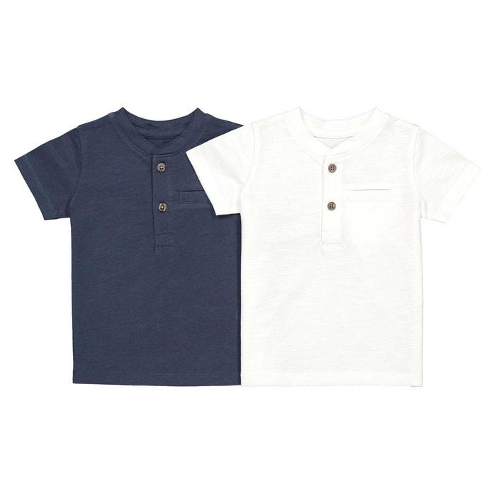 1ae16b2249227 Lot de 2 t-shirts unis 1 mois-4 ans ecru bleu La Redoute Collections ...