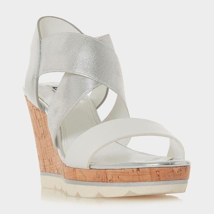 Sandales à talons compensés hauts et brides croisées - kos  blanc plain synthetic Dune London  La Redoute
