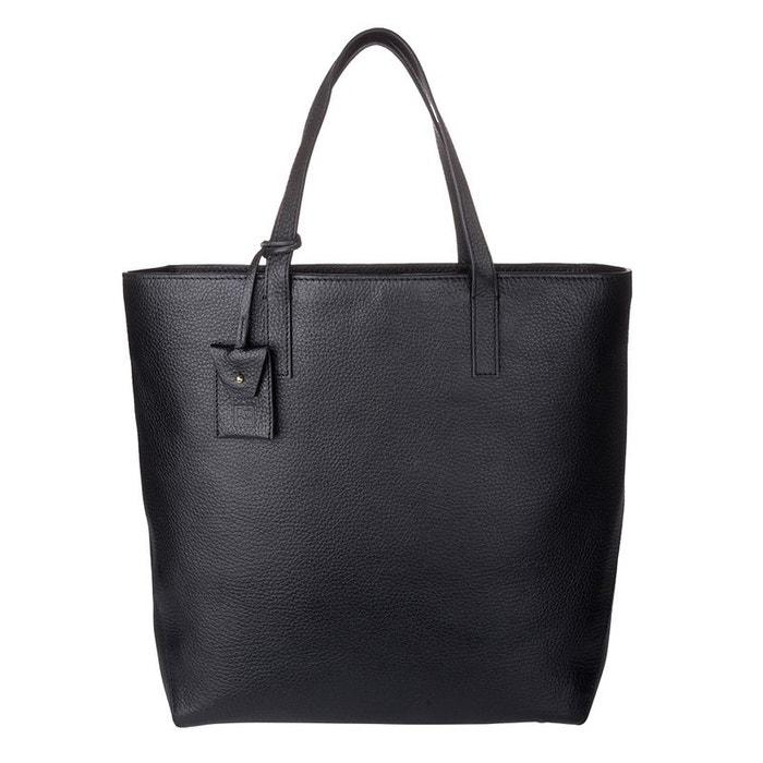 fbbb29bed3 Sac shopping pour femme grand shopper en cuir véritable avec deux poignées  sac à bandoulière réglable et amovible noir Dudu   La Redoute