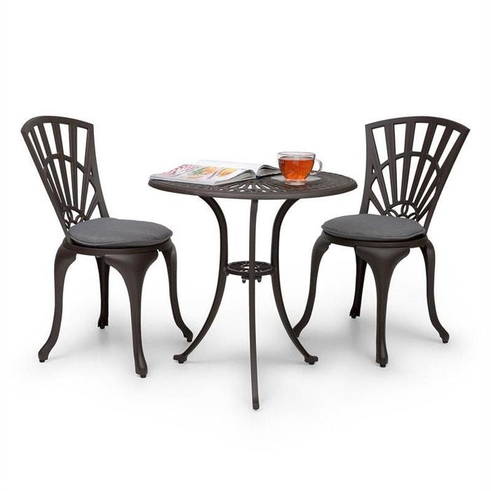blumfeldt valletta set bistrot table 2 chaises coussins alu moul marron marron blumfeldt. Black Bedroom Furniture Sets. Home Design Ideas