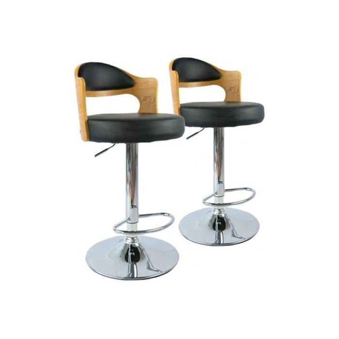 lot de 2 tabourets de bar ch ne clair et noir isabella noir declikdeco la redoute. Black Bedroom Furniture Sets. Home Design Ideas