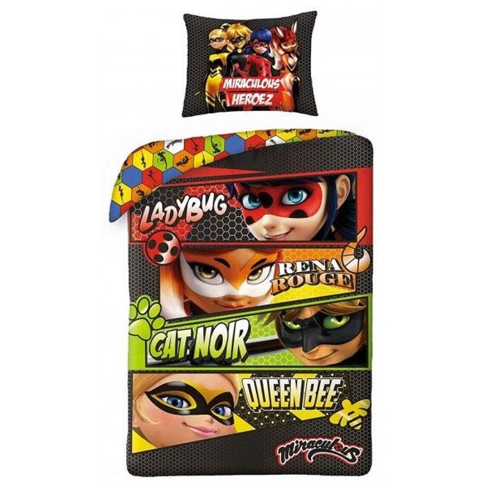ae12aea3ac725 Miraculous ladybug heros - parure de lit enfant - housse de couette coton  multicolore Miraculous