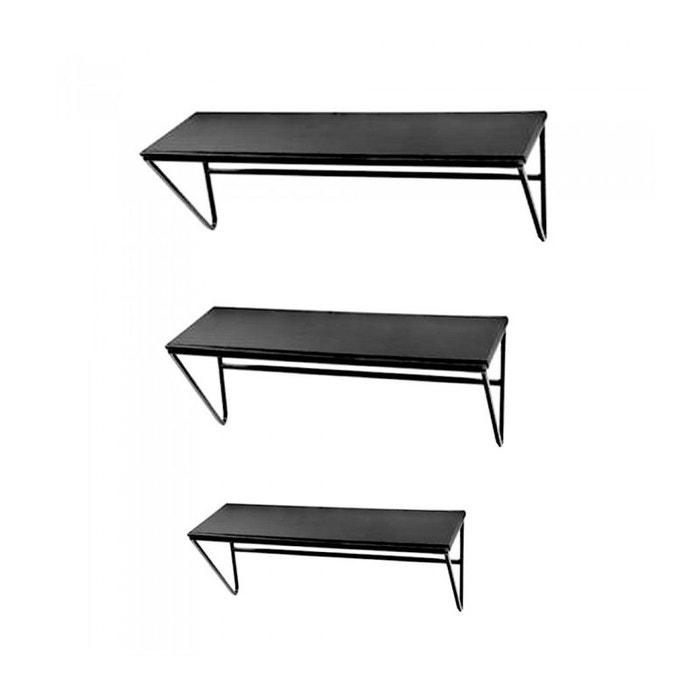 set de 3 tag res murales en m tal et bois noir noir wadiga la redoute. Black Bedroom Furniture Sets. Home Design Ideas