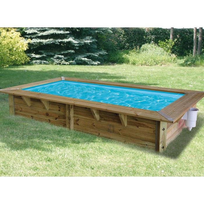 Piscine bois azura 3 50 x 2 00 x 0 71 m liner bleu for Liner piscine diametre 3 50