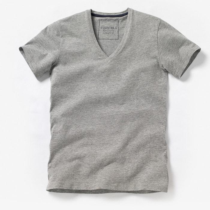 T-shirt com decote em V profundo, lisa, mangas curtas R édition