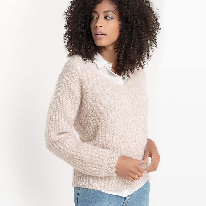 afbeelding Trui in fantasie tricot met V-hals La Redoute Collections