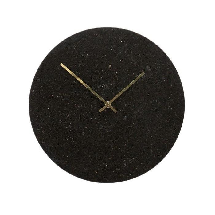 Horloge murale ronde marbre noir Hübsch HUBSCH