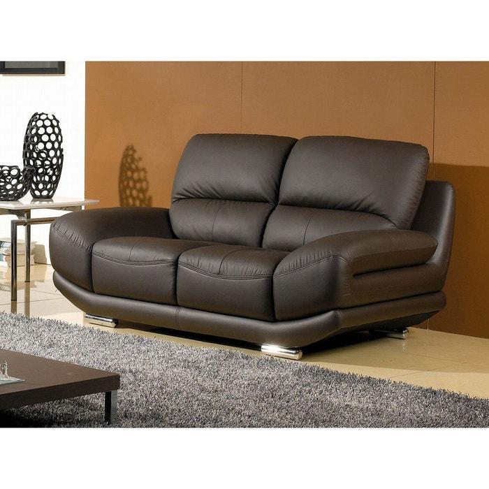 canap cuir 2 places barcelona noir la maison du canape. Black Bedroom Furniture Sets. Home Design Ideas