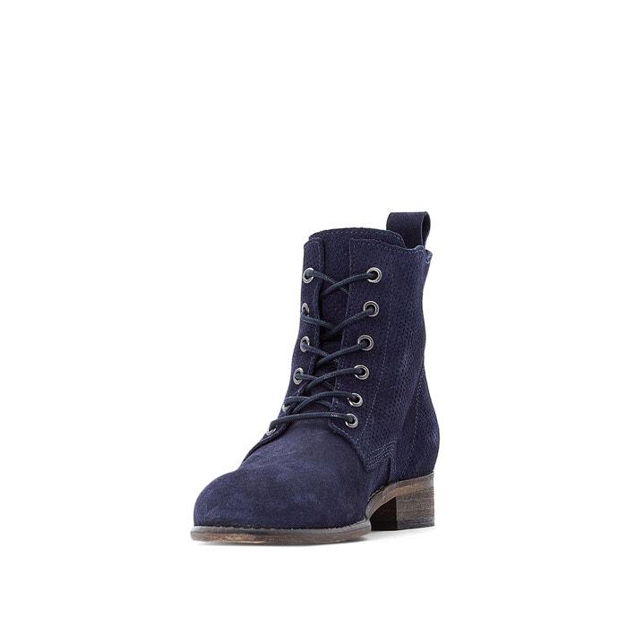d1f650151e696 Boots cuir à lacets effet perforé - LA REDOUTE COLLECTIONS