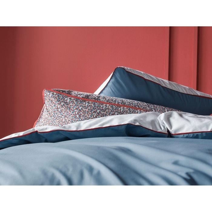 taie d 39 oreiller rectangulaire percale 80 fils bicolore passepoil plat brique et finition. Black Bedroom Furniture Sets. Home Design Ideas