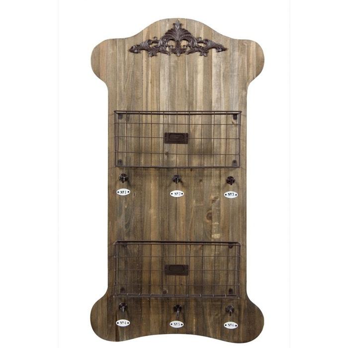 etagere murale rangement bois 2 rangements 6 accroches marron decoration d. Black Bedroom Furniture Sets. Home Design Ideas