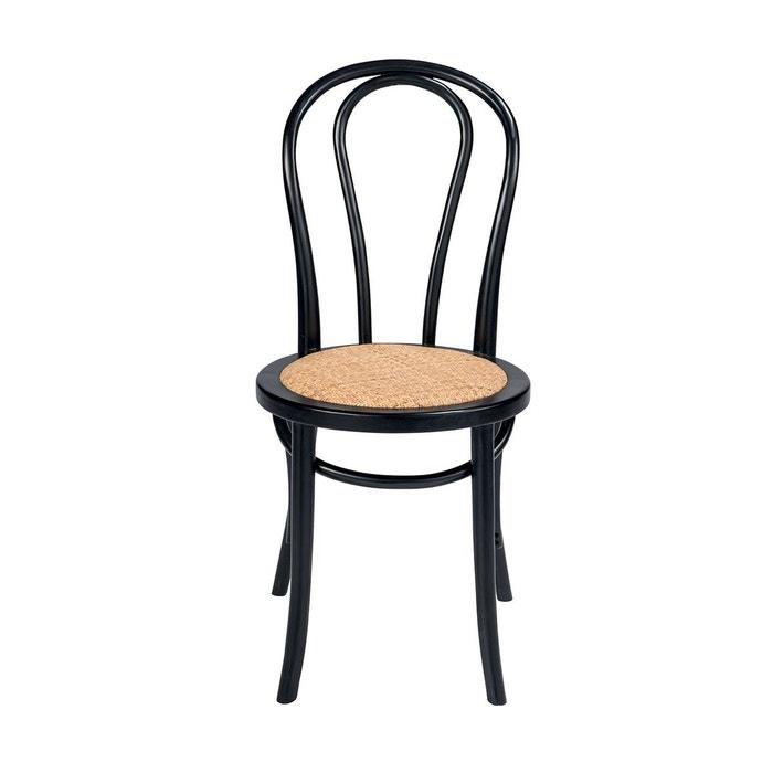 Chaises en bois de hêtre et rotin noire Troquet Lot de 2