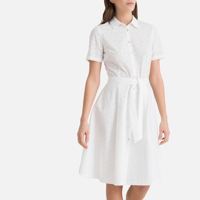 new styles 65465 857d6 Abito camicia pizzo sangallo maniche corte bianco La Redoute ...