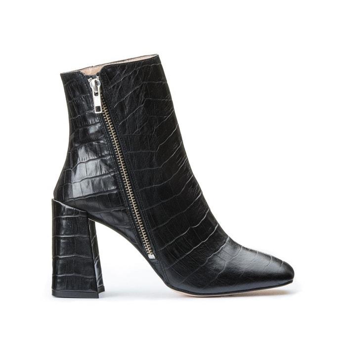 Boots cuir croco à talon Versa