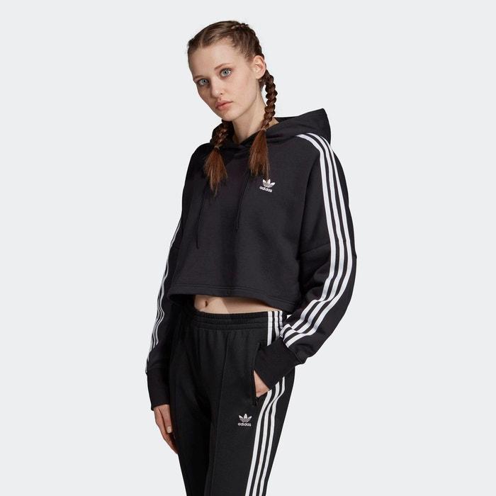 Sweat shirt à capuche cropped noir Adidas Originals   La Redoute