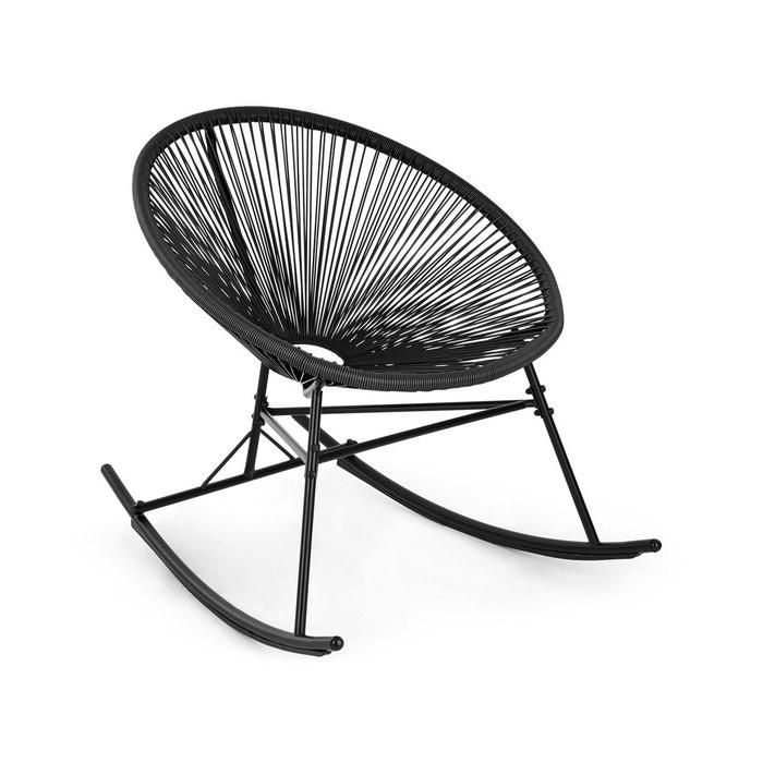 Roqueta fauteuil à bascule design rétro cannage 4mm acier